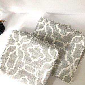 """SET OF 2 GRAY AND WHITE FLAT PANEL CURTAINS 84""""L"""